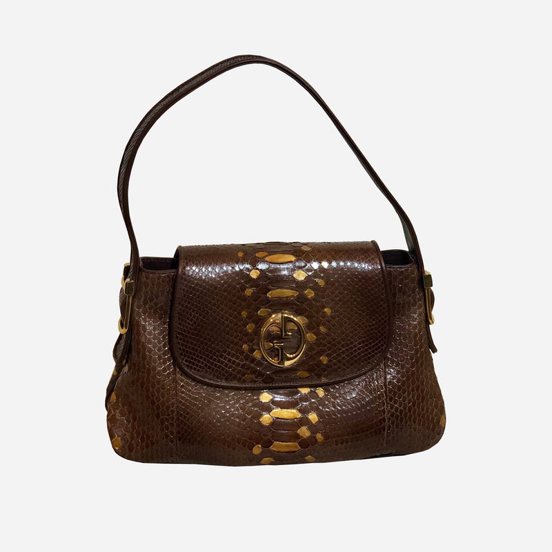 Gucci Brown Python 1973 Shoulder Bag