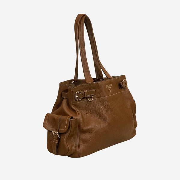 Prada Brown Vitello Daino Side Pocket Tote