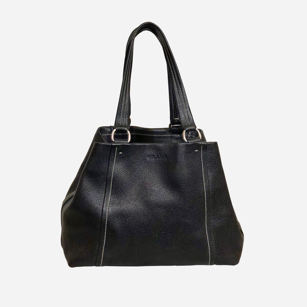 Black Leather Small Vitello Daino Tote