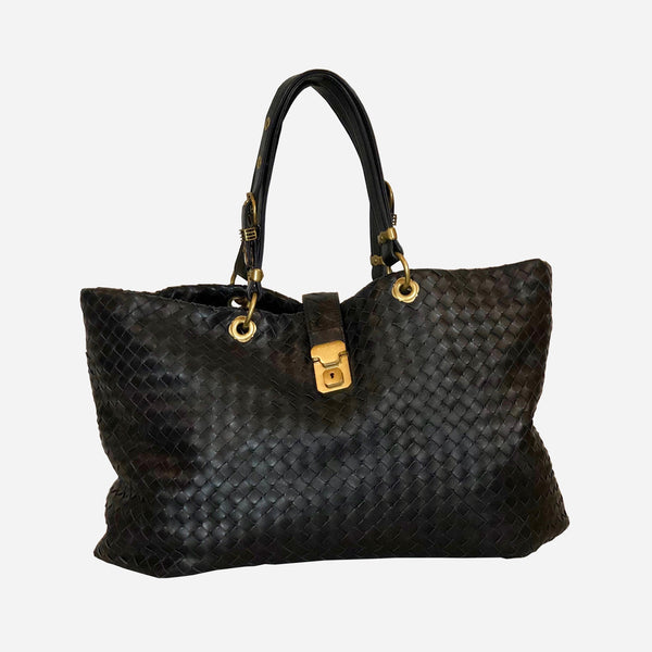 Black Intrecciato Leather Tote