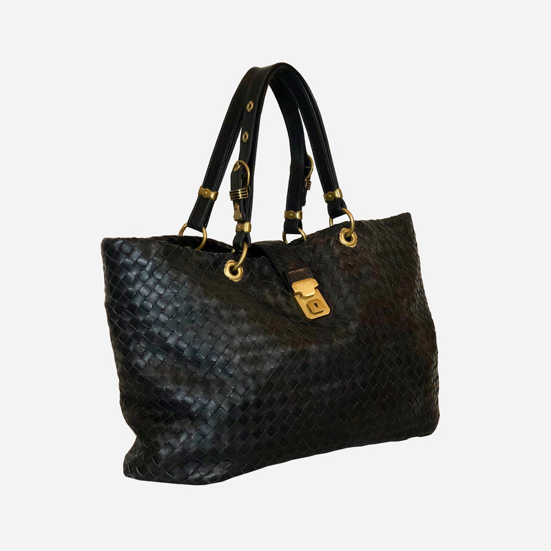 Bottega Veneta Black Intrecciato Leather Tote