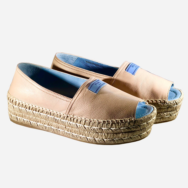Light-Tan Leather Platform Espadrilles