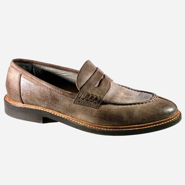 Brown Round-Toe Leather Loafers