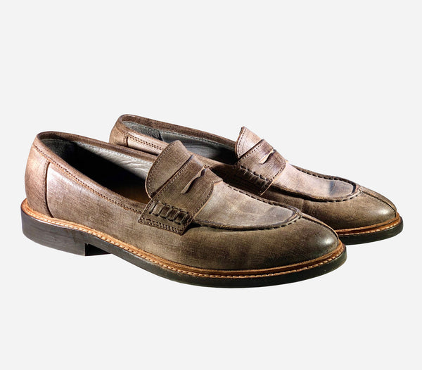 Brunello Cucinelli Brown Round-toe Leather Loafers