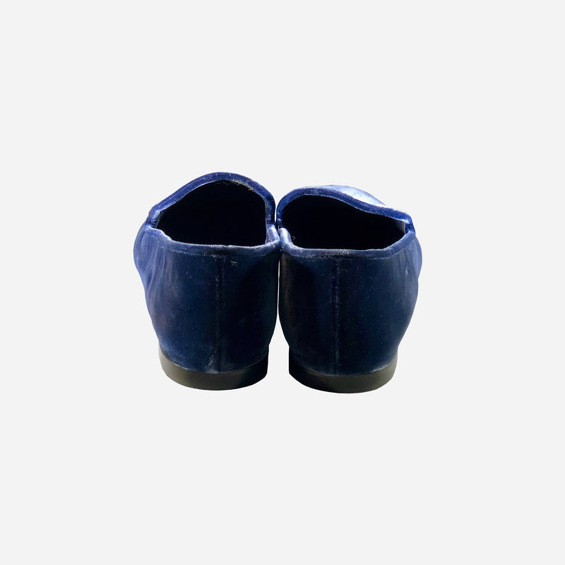 Blue Velvet Square-Toe Loafers