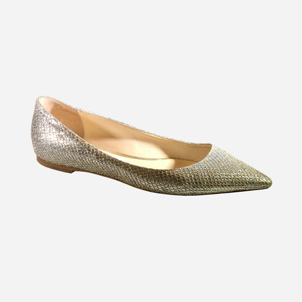Jimmy Choo Gold and Silver Glitter Pointed-Toe Flats