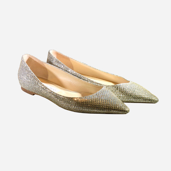 Gold and Silver Glitter Pointed-Toe Flats