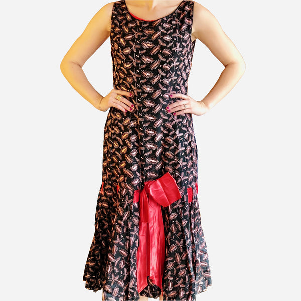 Vintage Red and Black Embroidered Cocktail Dress
