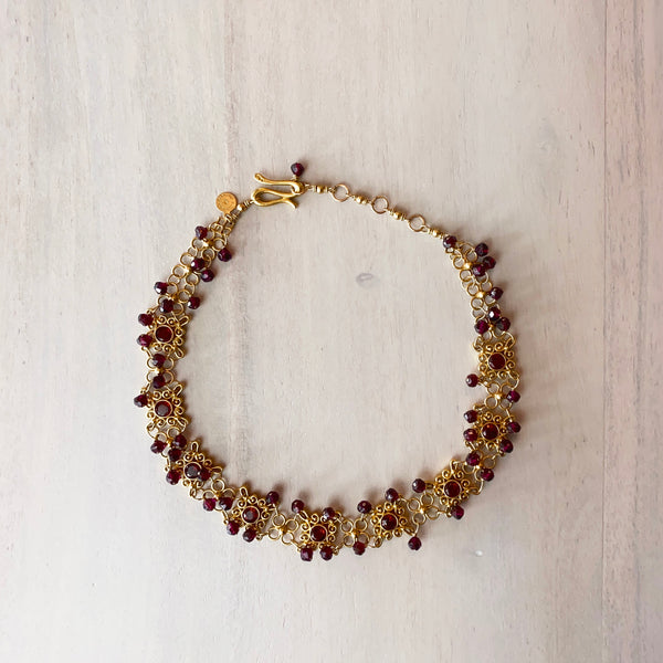 Gold-Tone and Crystal Beaded Choker Necklace