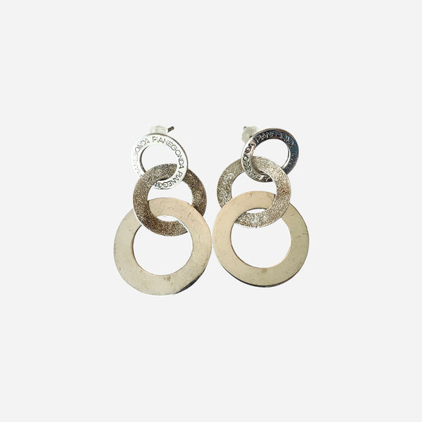Sterling Silver Circular Drop Earrings