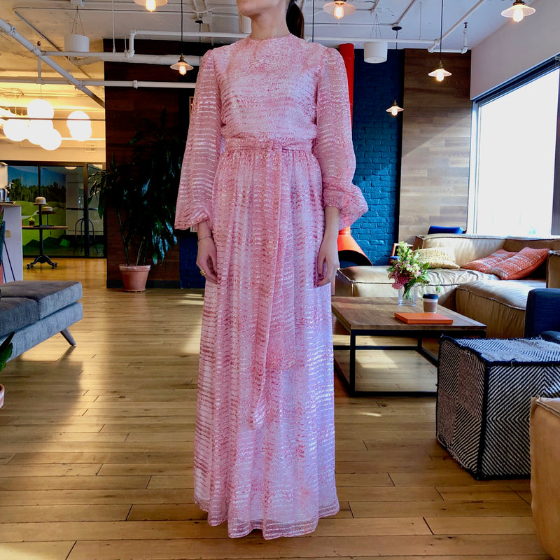 Vintage Richilene Pink Long Sleeve Maxi Dress