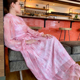 Pink and Cream Long Sleeve Maxi Dress