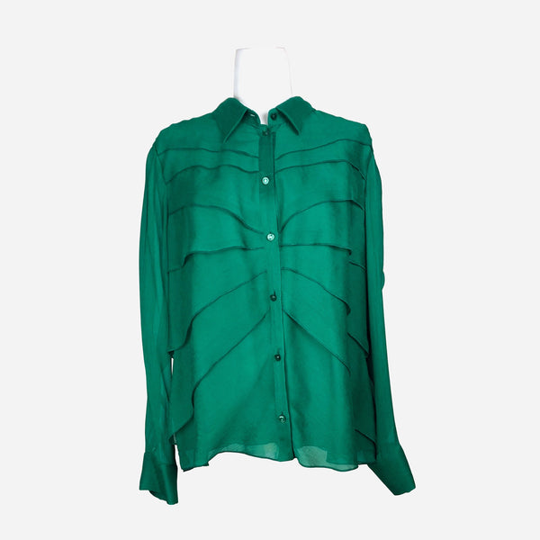 Emerald Silk Button-Up Blouse