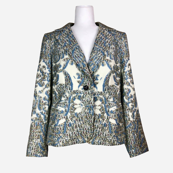 Abstract Print Notch-Lapel Blazer
