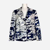 Blue and White Abstract Print Notch-Lapel Blazer