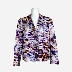 Escada Notch-Lapel Purple Abstract Print Blazer