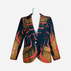 Red and Black Abstract Print Peak-Lapel Blazer