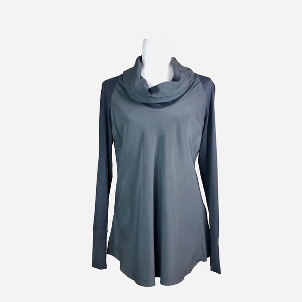 Cowl-Neck Slate Gray Long Sleeve Blouse