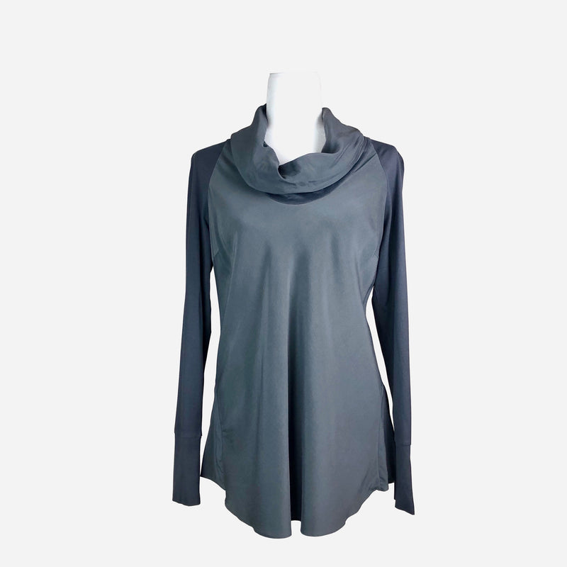 Brunello Cucinelli Cowl-Neck Slate Gray Long Sleeve Blouse