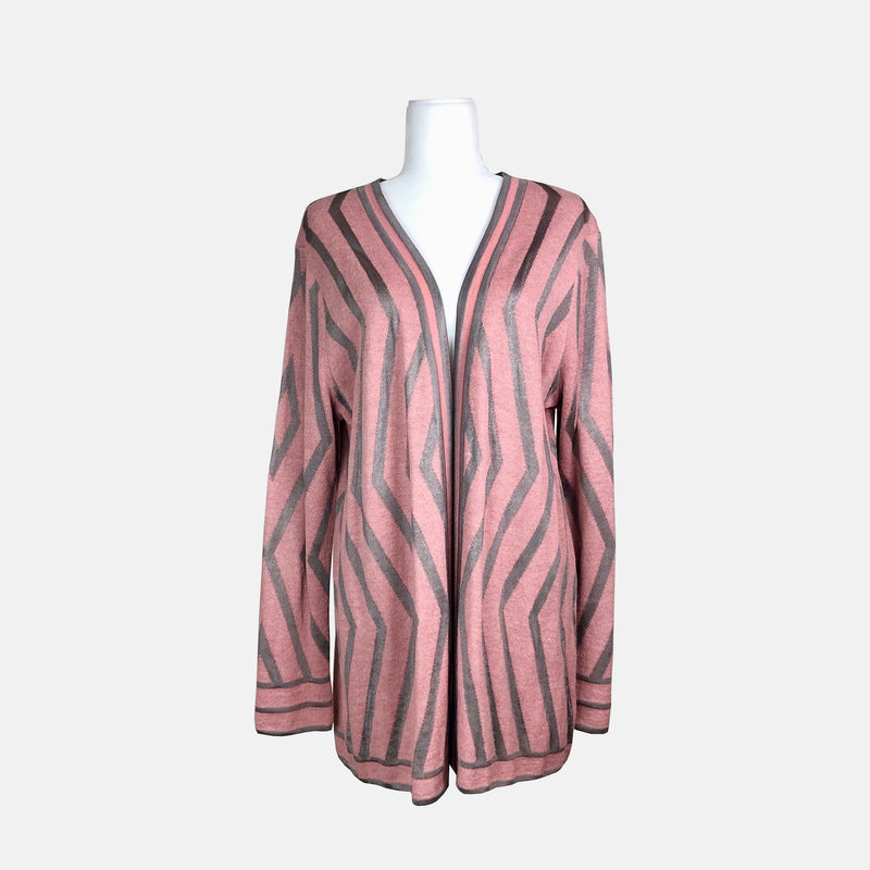 Blush Pink and Gunmetal Geometric Cardigan