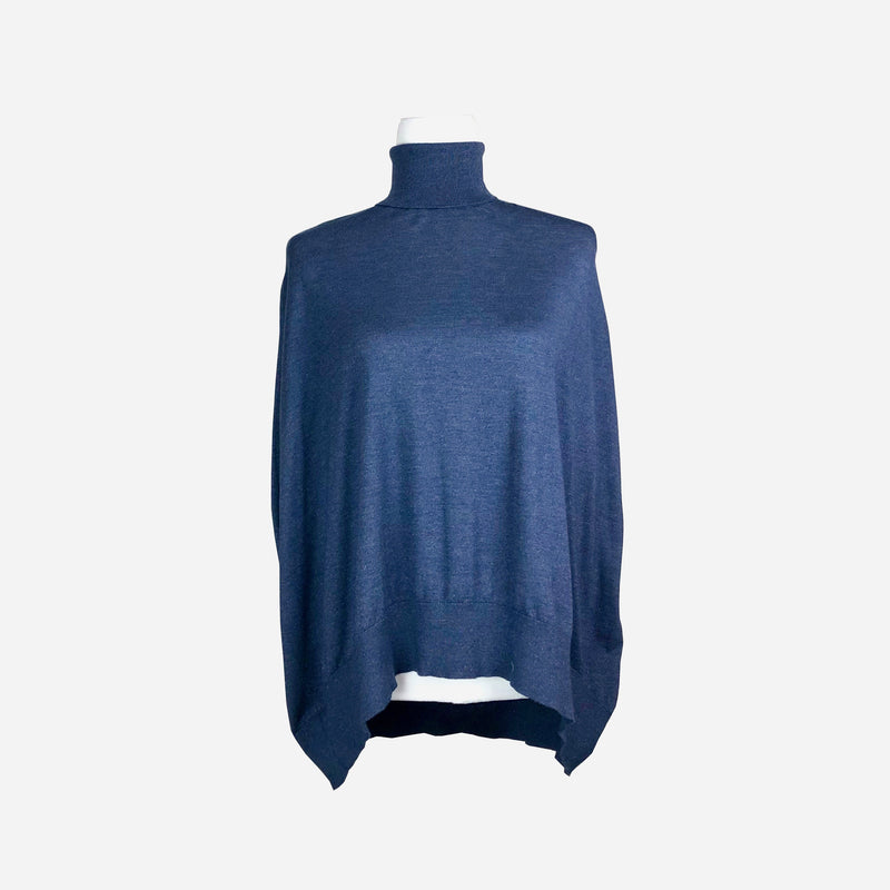 Brunello Cucinelli Metallic Navy Turtle-Neck Sleeveless Sweater