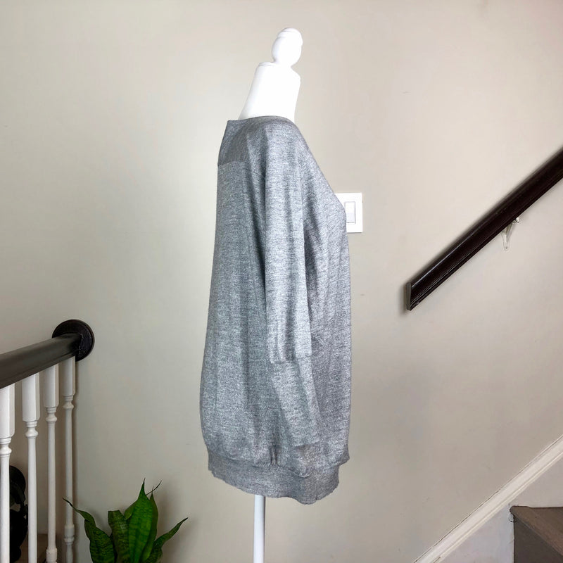 Metallic Heather Gray Cashmere Sweater