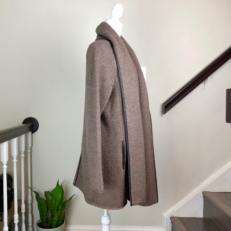 Brown Wool and Leather Trim Open-Front Cardigan