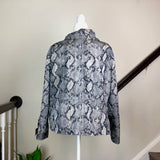 Gray Snakeskin Print Cowl Neck Jacket