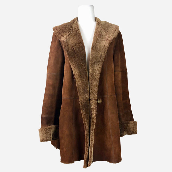 Brown Suede and Shearling Mid-Length Coat