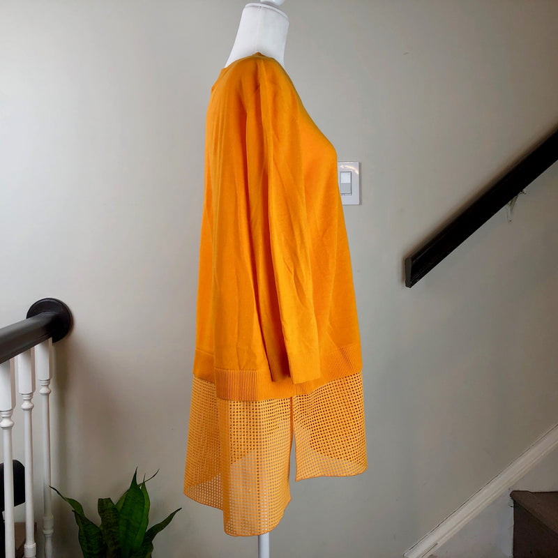 Orange Layered Knit Long Sleeve Tunic Top