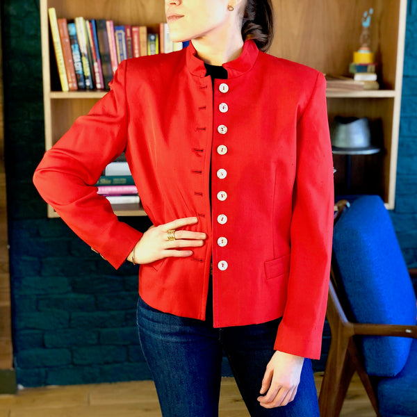 Vintage Christian Dior Red Silk Blazer