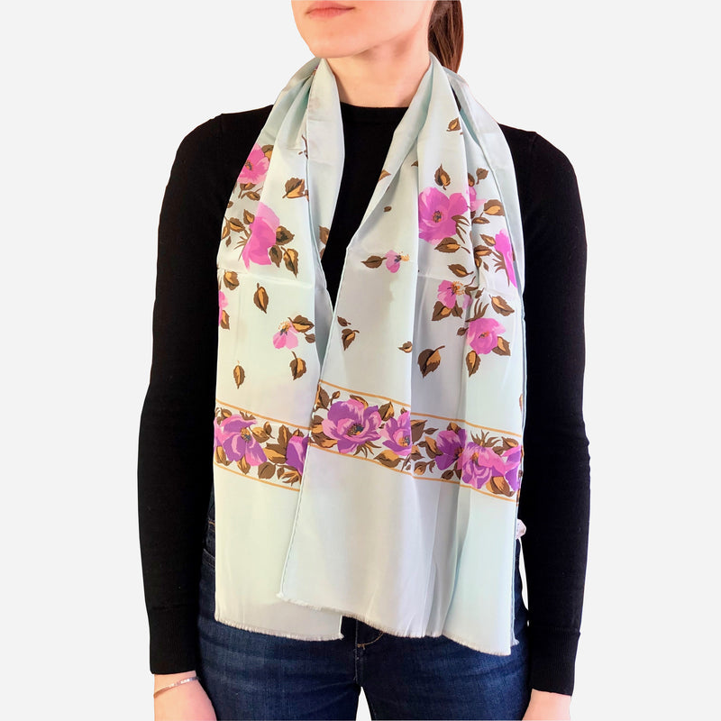 Light-Blue Floral Rectangular Silk Scarf