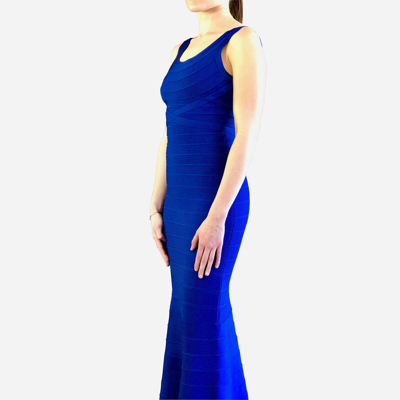 Cobalt-Blue Aleah Bandage Floor-Length Dress