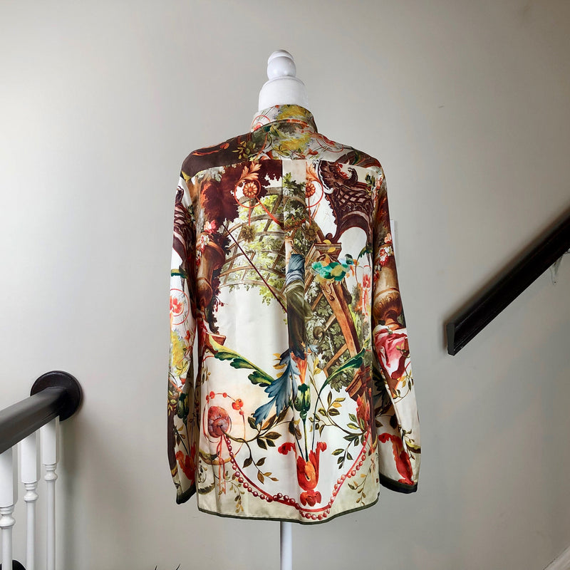 Multicolored Print Silk Button-Up Blouse