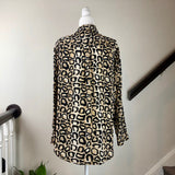 Black and Tan Animal Print Silk Button-Up Blouse