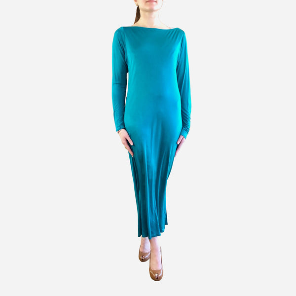 Vintage 1970s Diane von Furstenberg Teal Silk Long Sleeve Dress
