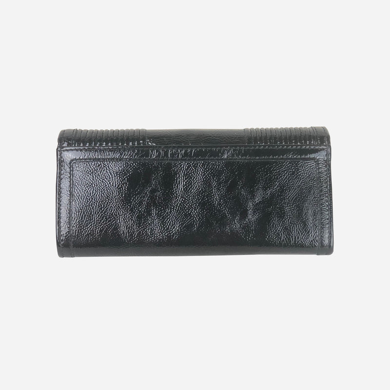 Black Patent Leather Continental Wallet