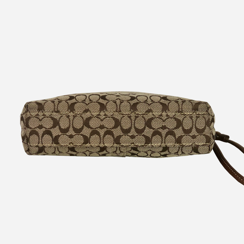Leather-trimmed Monogram Tan Wristlet