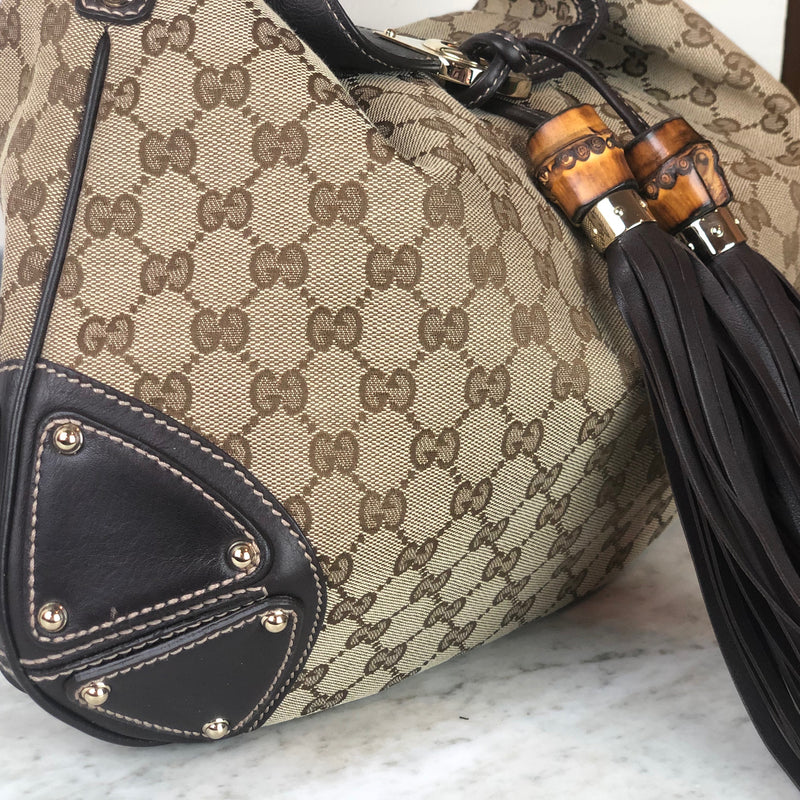 Gucci Indy Hobo GG Canvas Brown Tote