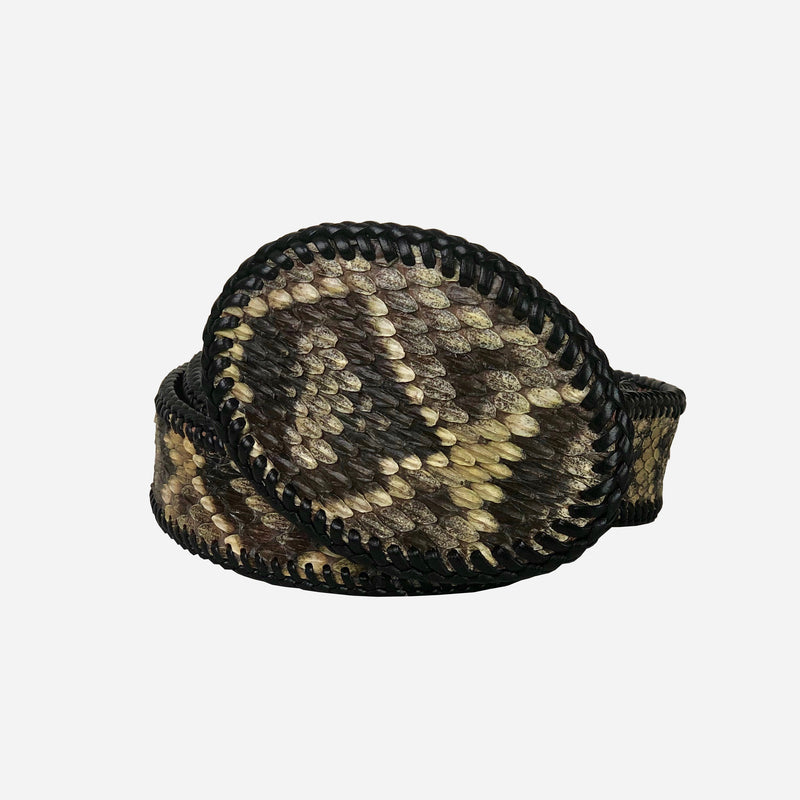 Green and Dark Brown Snake Skin Style Leather Belt