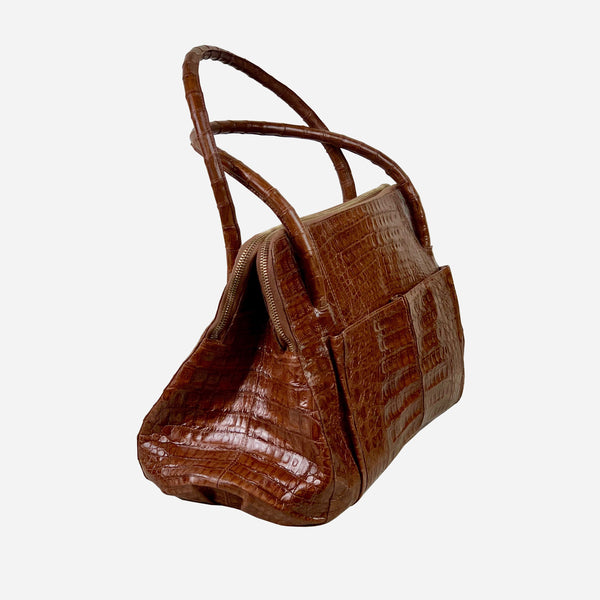Brown Crocodile Leather Double Zipper Tote