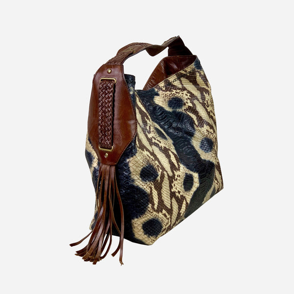 Sierra Snake Print Brown Black Beige Leather Hobo