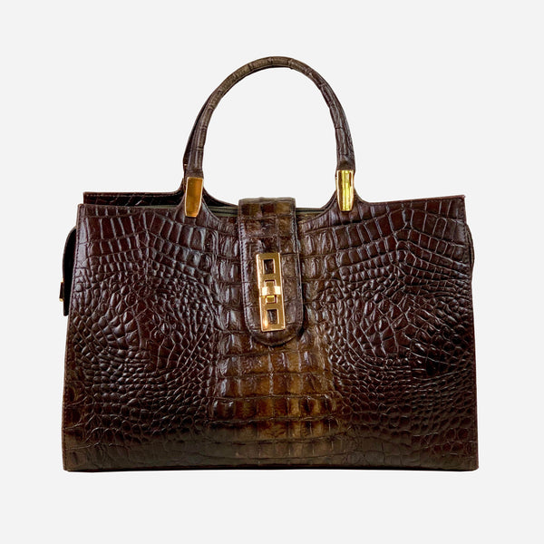 Brahmin Dark Brown Crocodile Leather Tote