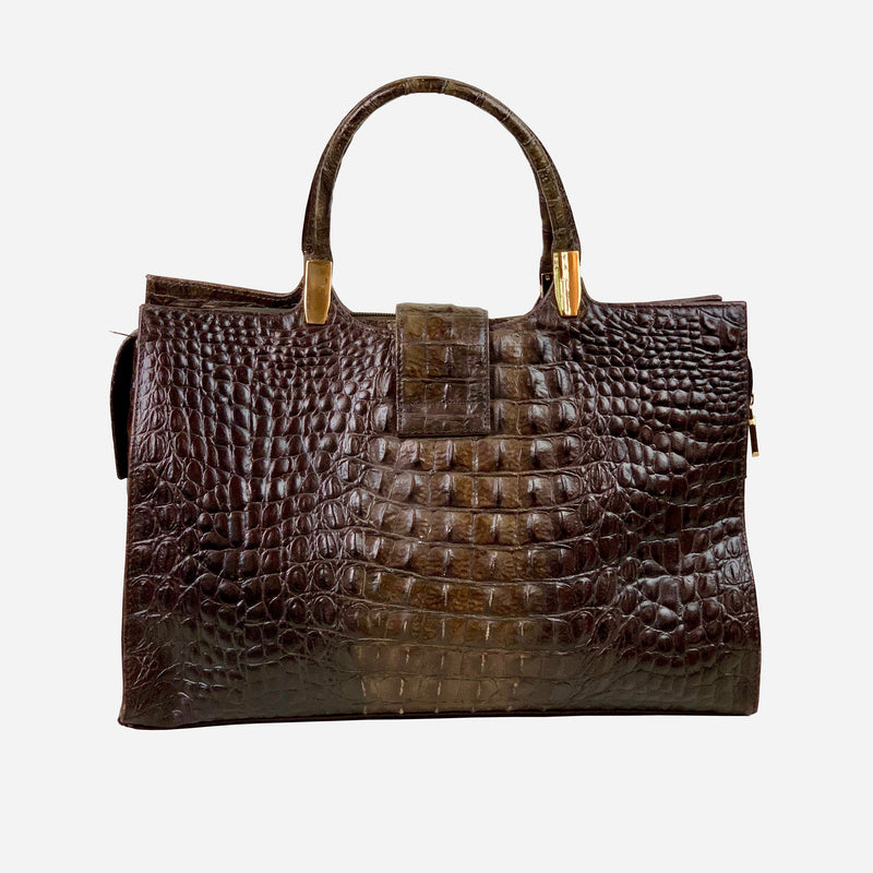 M. Rossini Brahmin Dark Brown Crocodile Leather Tote