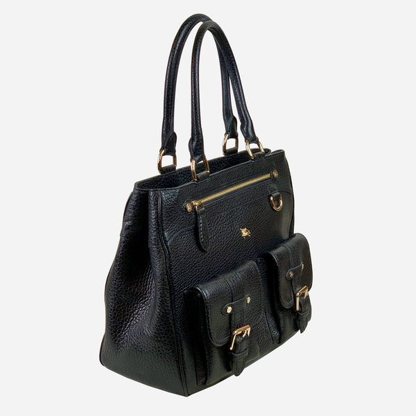 Black Grained Leather Tote