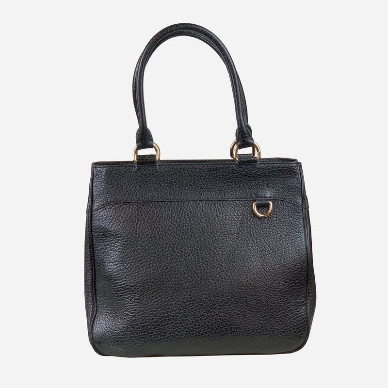Burberry Black Grained Leather Tote