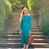 Teal Long Sleeve Silk Midi Dress