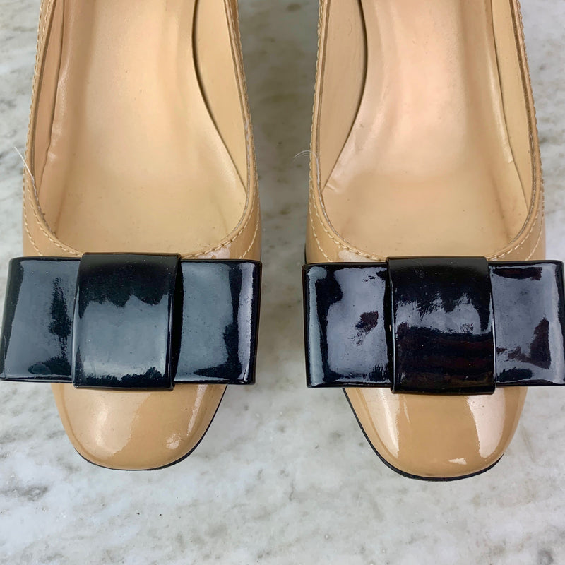 Tan and Black Patent Leather Bow Pumps