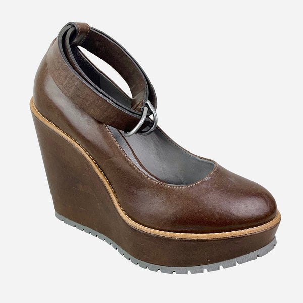 Brown Leather Platform Wedge Sandals