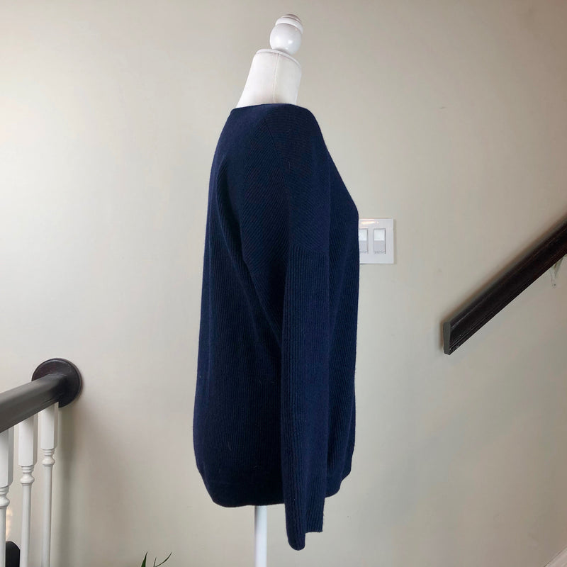 Brunello Cucinelli V-Neck Long-Sleeve Dark-Blue Cashmere Sweater